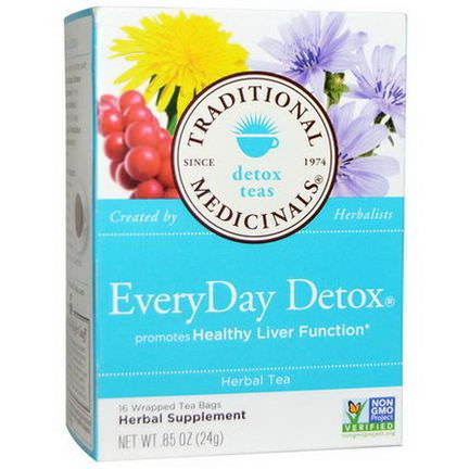 Traditional Medicinals, Detox Teas, EveryDay Detox, Herbal Tea, 16 Wrapped Tea Bags 24g