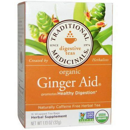 Traditional Medicinals, Digestive Teas, Organic Ginger Aid, Caffeine Free, 16 Wrapped Tea Bags 32g