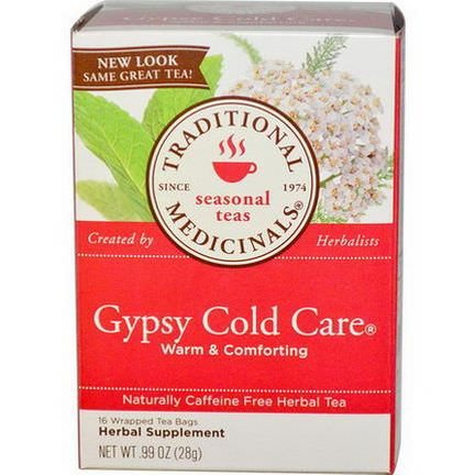Traditional Medicinals, Herbal Tea, Gypsy Cold Care, Caffeine Free, 16 Wrapped Tea Bags 28g