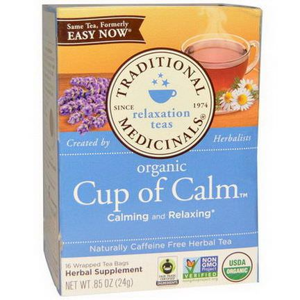 Traditional Medicinals, Herbal Tea, Organic Cup of Calm, Caffeine Free, 16 Wrapped Tea Bags 24g