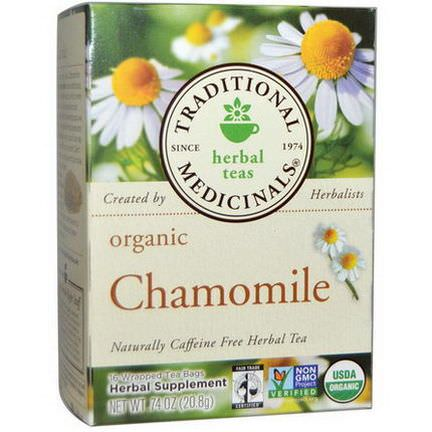Traditional Medicinals, Herbal Teas, Organic Chamomile, Caffeine Free, 16 Wrapped Tea Bags 20.8g