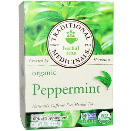 Traditional Medicinals, Herbal Teas, Organic Peppermint, Caffeine Free, 16 Wrapped Tea Bags 24g