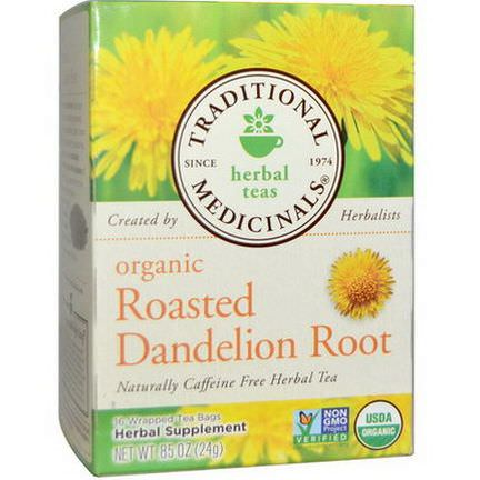 Traditional Medicinals, Herbal Teas, Organic Roasted Dandelion Root, Caffeine Free, 16 Wrapped Tea Bags 24g
