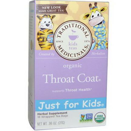 Traditional Medicinals, Just for Kids, Organic Throat Coat, Naturally Caffeine Free Herbal Tea, 18 Wrapped Tea Bags 27g