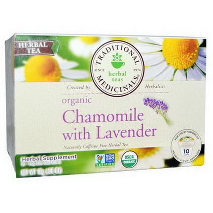 Traditional Medicinals, Organic Chamomile with Lavender, Naturally Caffeine Free Herbal Tea, 10 Cups 1.6g Each