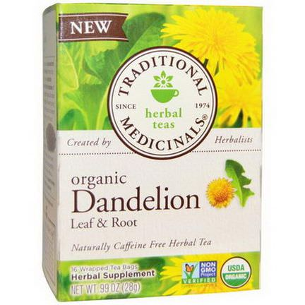 Traditional Medicinals, Organic Dandelion Leaf&Root Tea, Caffeine Free, 16 Wrapped Tea Bags 28g