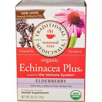 Traditional Medicinals, Organic Echinacea Plus, Caffeine Free, Elderberry, 16 Wrapped Tea Bags 24g