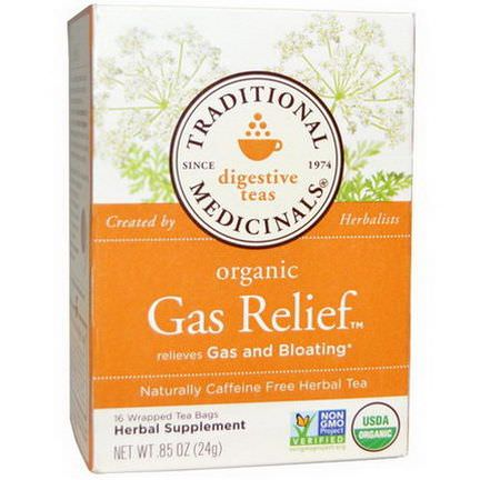 Traditional Medicinals, Organic Gas Relief Tea, Caffeine Free, 16 Wrapped Tea Bags 24g