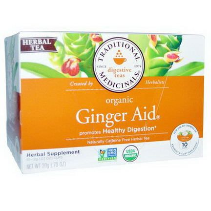 Traditional Medicinals, Organic Ginger Aid, Naturally Caffeine Free Herbal Tea, 10 Cups 2g Each