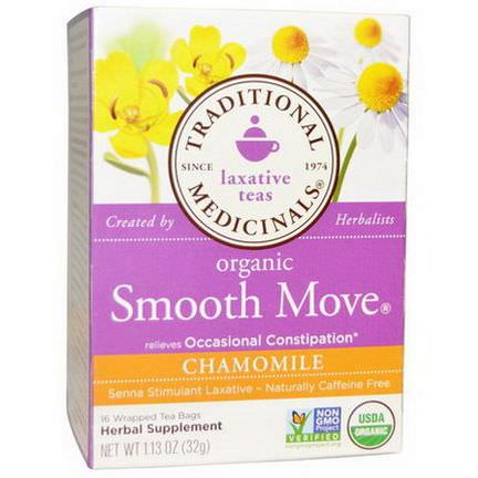 Traditional Medicinals, Organic Smooth Move, Chamomile, Caffeine Free, 16 Wrapped Tea Bags 32g