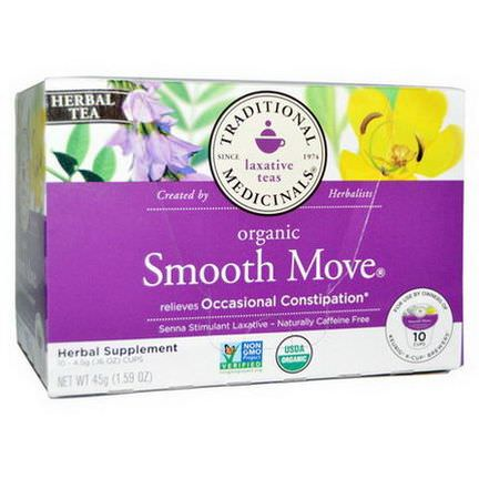 Traditional Medicinals, Organic Smooth Move Herbal Tea, Caffeine Free, 10 Cups 4.5g Each