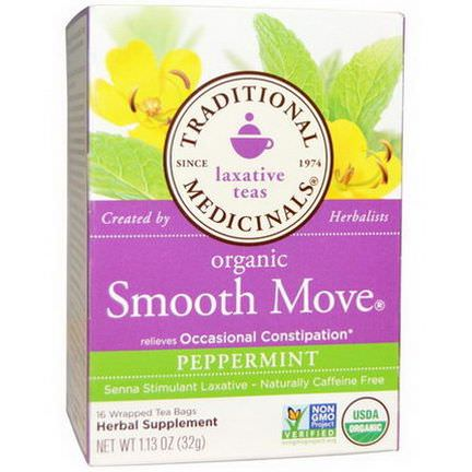 Traditional Medicinals, Organic Smooth Move, Peppermint, Caffeine Free, 16 Wrapped Tea Bags 32g