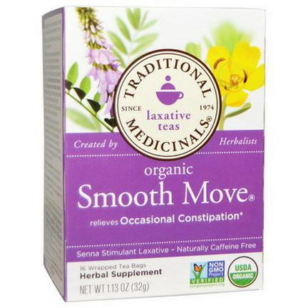 Traditional Medicinals, Organic Smooth Move, Senna Stimulant Laxative, Caffeine Free, 16 Wrapped Tea Bags 32g