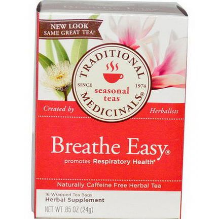Traditional Medicinals, Seasonal Teas, Breathe Easy, Caffeine Free, 16 Wrapped Tea Bags 24g