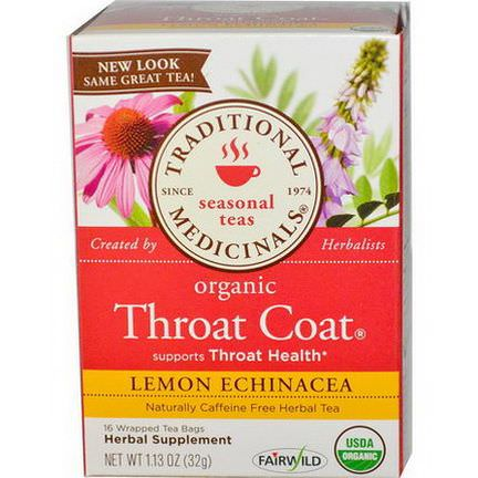 Traditional Medicinals, Seasonal Teas, Organic Throat Coat, Caffeine Free, Lemon Echinacea, 16 Wrapped Tea Bags 32g