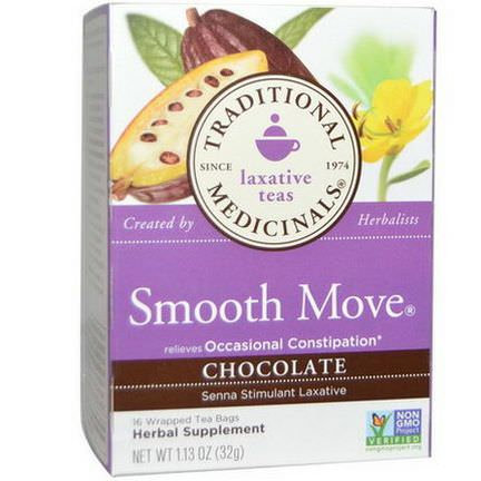 Traditional Medicinals, Smooth Move, Chocolate, 16 Wrapped Tea Bags 32g