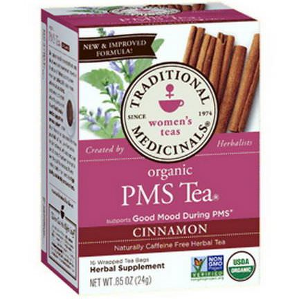 Traditional Medicinals, Women's Teas, Organic PMS Tea, Cinnamon, 16 Wrapped Tea Bags 24g