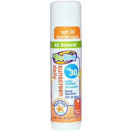 TruKid, Sunscreen Daily, SPF 30, Light Citrus Scent 17.57g