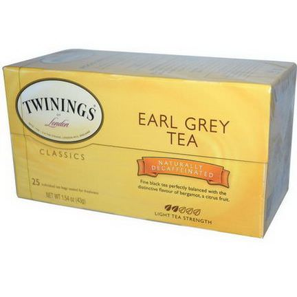 Twinings, Classics, Earl Grey, Decaffeinated, 25 Tea Bags 43g