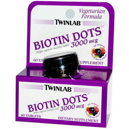 Twinlab, Biotin Dots, Mixed Berry Flavor, 3000mcg, 60 Tablets