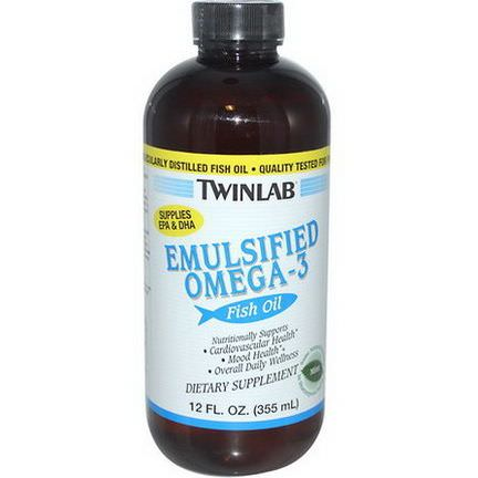 Twinlab, Emulsified Omega-3 Fish Oil, Mint 355ml