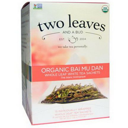 Two Leaves and a Bud, Organic Bai Mu Dan, Whole Leaf White Tea, 15 Sachets 30g