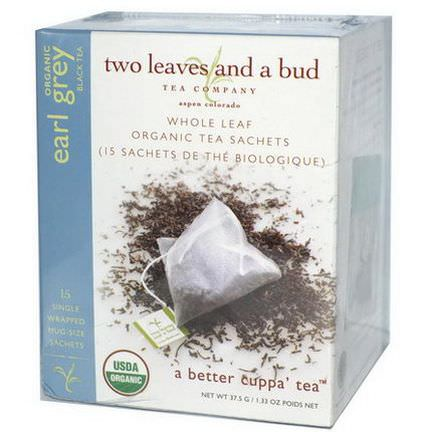 Two Leaves and a Bud, Organic Earl Grey Black Tea, 15 Sachets 37.5g