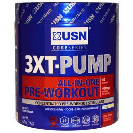 USN, 3XT- Pump, All-In-One Pre-Workout, Fruit Punch 196g