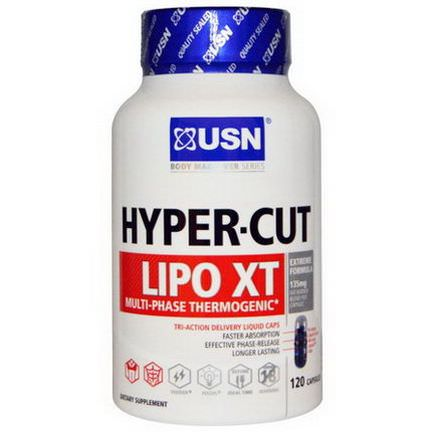 USN, Multi-Phase Thermogenic, Hyper-Cut, Lipo XT, 120 Capsules