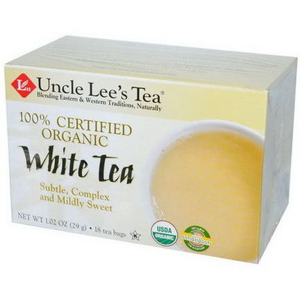 Uncle Lee's Tea, 100% Certified Organic, White Tea, 18 Tea Bags 29g