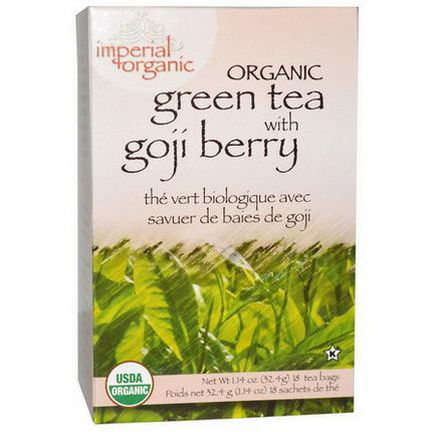 Uncle Lee's Tea, Imperial Organic, Green Tea with Goji Berry, 18 Tea Bags 32.4g