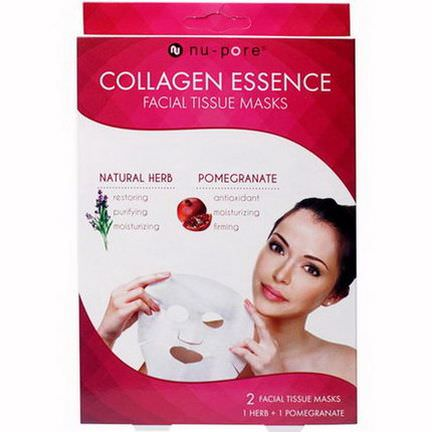 United Exchange, Collagen Essence Facial Tissue Masks, Natural Herb&Pomegranate, 2 Masks