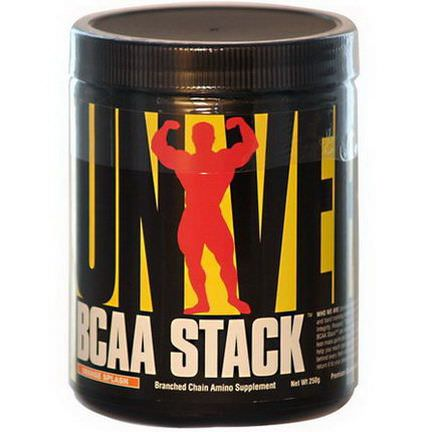 Universal Nutrition, BCAA Stack, Branched Chain Amino Supplement, Orange Splash, 250g