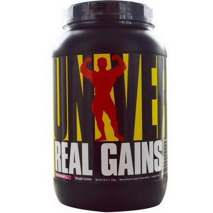 Universal Nutrition, Real Gains, Weight Gainer, Strawberry Ice Cream 1.73 kg