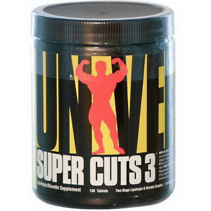 Universal Nutrition, Super Cuts 3, Two-Stage Lipotropic&Diuretic Complex, 130 Tablets