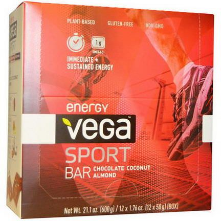 Vega, Sport Energy Bar, Chocolate Coconut Almond, 12 Bars 50g Each