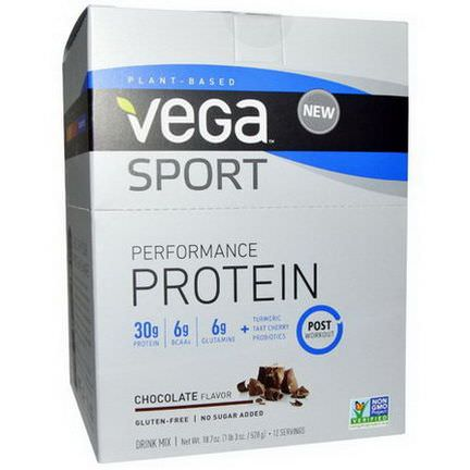 Vega, Sport Performance Protein Drink Mix, Chocolate Flavor, 12 Packets 44g Each