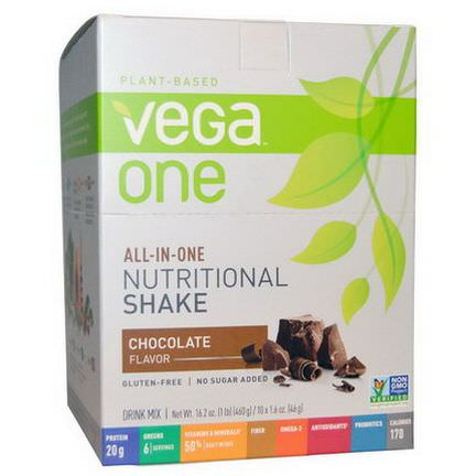 Vega, Vega One, All-in-One Nutritional Shake, Chocolate, 10 Packets 46g Each