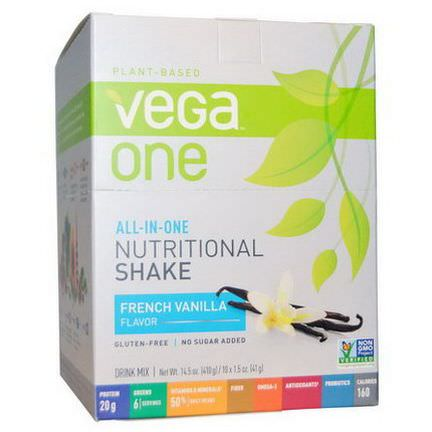 Vega, Vega One, All-in-One Nutritional Shake, French Vanilla, 10 Packets 41g Each