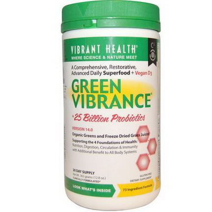 Vibrant Health, Green Vibrance 25 Billion Probiotics, Version 14.0 363g