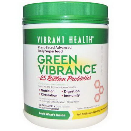 Vibrant Health, Green Vibrance, Version 15.0, 25 Billion Probiotics 709.8g