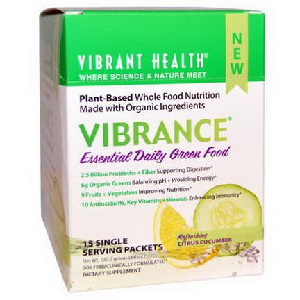 Vibrant Health, Vibrance, Essential Daily Green Food, Refreshing Citrus Cucumber, 15 Single Serving Packets, 8.707g Each