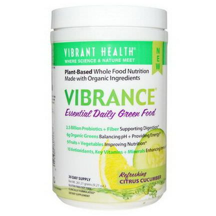 Vibrant Health, Vibrance, Essential Daily Green Food, Refreshing Citrus Cucumber 261.21g