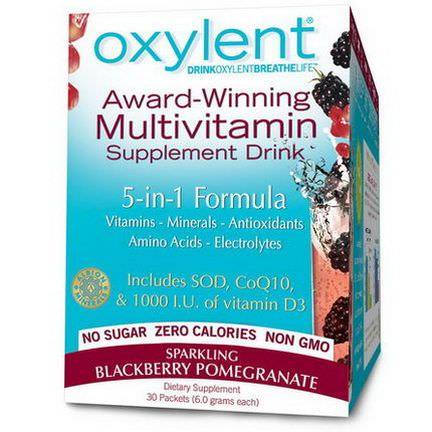 Vitalah, Oxylent, Multivitamin Supplement Drink, Sparkling Blackberry Pomegranate, 30 Packets 5.9g Each