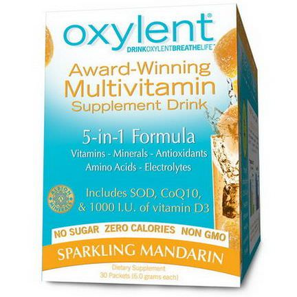 Vitalah, Oxylent, Multivitamin Supplement Drink, Sparkling Mandarin, 30 Packets 5.9g Each