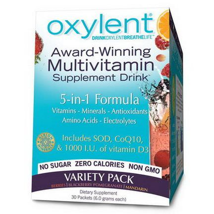 Vitalah, Oxylent, Multivitamin Supplement Drink, Variety Pack, 30 Packets 5.9g Each
