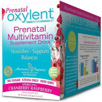 Vitalah, Oxylent, Prenatal Multivitamin Drink, Sparkling Cranberry Raspberry, 30 Packets, 5.8g Each