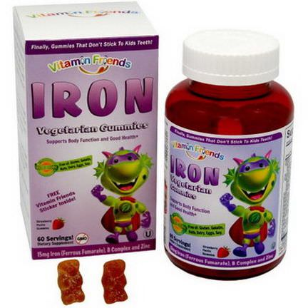 Vitamin Friends, IronBear Gummies, Strawberry, 15mg, 60 Pectin Bears