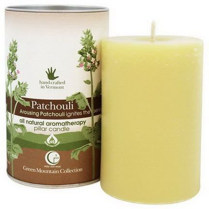 Way Out Wax, Green Mountain Collection, Pillar Candle, Patchouli, 2.75