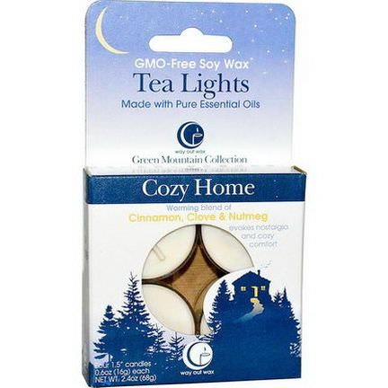 Way Out Wax, Tea Lights, Cozy Home, 4 Candles 16g Each